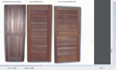 marine teak louver doors-pre hung with side frame